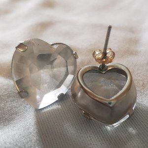 Big Heart Earrings Stud CZ Diamond Clear